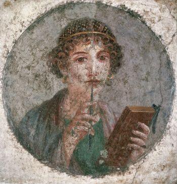 Jeune fille écrivant. Fresque de Pompéi